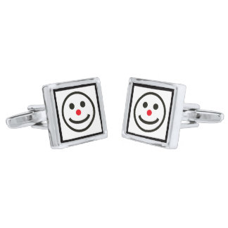 The Happy Face Silver Finish Cufflinks