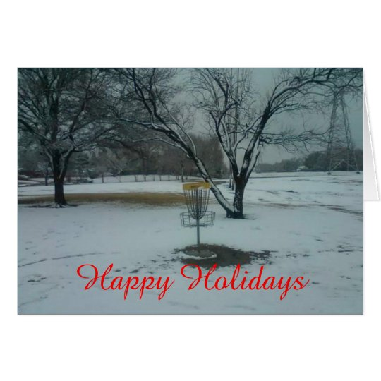 The Happy holidays basket in snow card