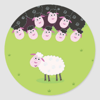 The happy little cute Sheeps Classic Round Sticker