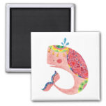 The Happy Pink Whale Square Magnet