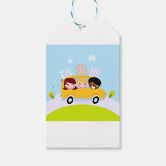 The happy School Kids in yellow bus Gift Tags