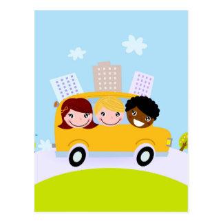 The happy School Kids in yellow bus Postcard