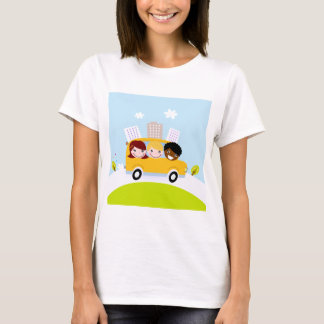 The happy School Kids in yellow bus T-Shirt