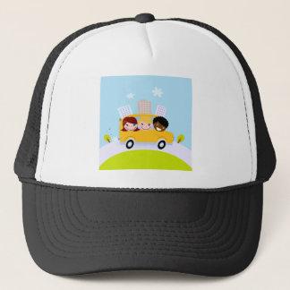 The happy School Kids in yellow bus Trucker Hat