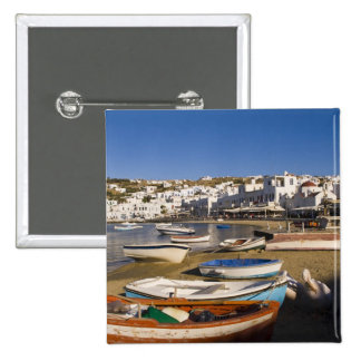 The harbor town with colorful fishing boats 15 cm square badge