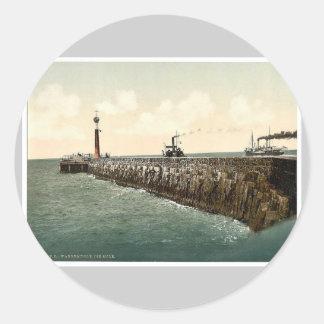 The harbor, Warnemunde, Rostock, Mecklenburg-Schwe Classic Round Sticker
