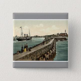 The harbor, Warnemunde, Rostock,Mecklenburg-Schwer 15 Cm Square Badge