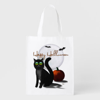 The Haunted Hills Folk Art HALLOWEEN Reusable Grocery Bags