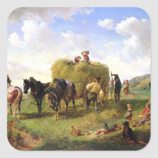 The Hay Harvest, 1869 Square Sticker