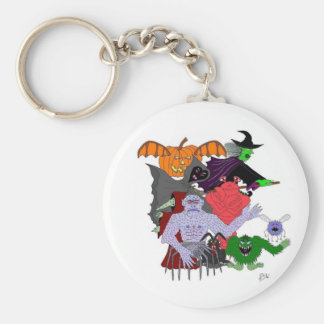 The Head Ghoul and friends Basic Round Button Key Ring
