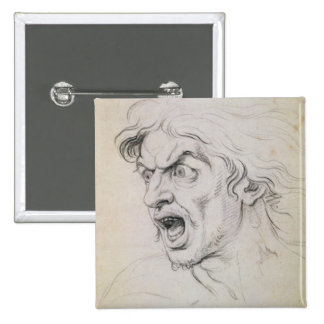 The head of a man screaming in terror, a study for 15 cm square badge