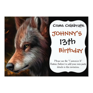 The head of a wolf painting. 13 cm x 18 cm invitation card