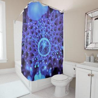 The Heart of Winter, a Purple-Blue Fractal Dahlia Shower Curtain