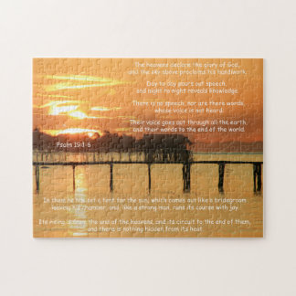 The Heavens Declare Psalm 19 Tropical Bay Sunset Jigsaw Puzzle