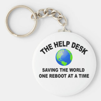 The Help Desk - Saving The World Basic Round Button Key Ring