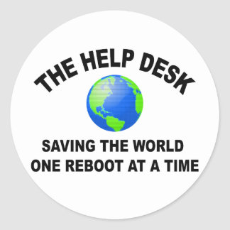 The Help Desk - Saving The World Round Stickers