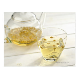 The herb tea which a glass teapot and a cup postcard