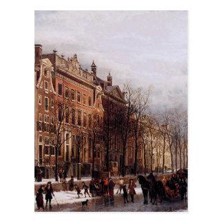 The Herengracht aan de Amstel by Cornelis Springer Postcard