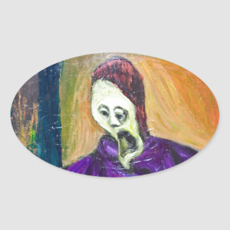 The High Priest (expressionism portrait) Oval Sticker