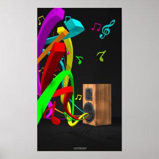 The High Vibe Music - Vintage Speaker Black Poster