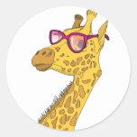 The Hipster Giraffe Round Sticker