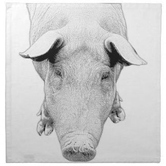 The Hog in Black and White Napkin
