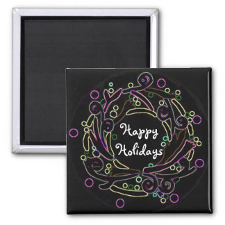 The Holiday Wreath Square Magnet