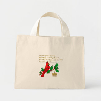 The Holly and the Ivy with Cardinal and Crown Bag