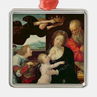 The Holy Family, 1522 (oil on panel) Silver-Colored Square Decoration