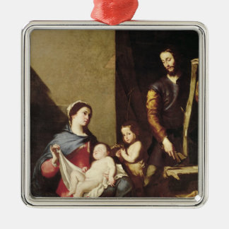 The Holy Family, 1639 Silver-Colored Square Decoration