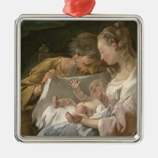 The Holy Family, 18th century Silver-Colored Square Decoration