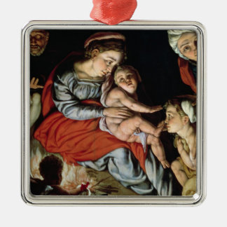 The Holy Family around a Fire, c.1532-33 Silver-Colored Square Decoration