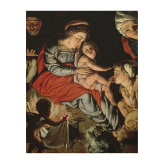 The Holy Family around a Fire, c.1532-33 Wood Prints