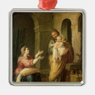 The Holy Family, c.1660-70 Silver-Colored Square Decoration