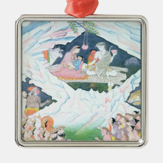 The Holy Family of Shiva and Parvati Silver-Colored Square Decoration