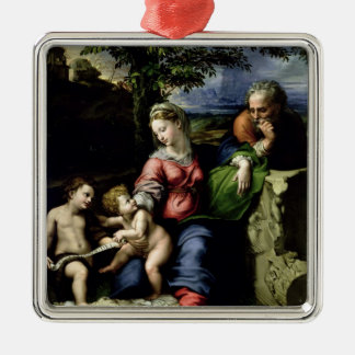 The Holy Family of the Oak Tree, c.1518 Silver-Colored Square Decoration