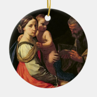The Holy Family (oil on canvas) 2 Round Ceramic Decoration