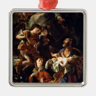 The Holy Family (oil on canvas) Silver-Colored Square Decoration