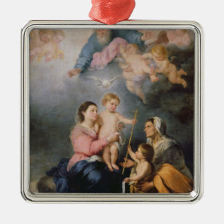 The Holy Family or The Virgin of Seville Silver-Colored Square Decoration