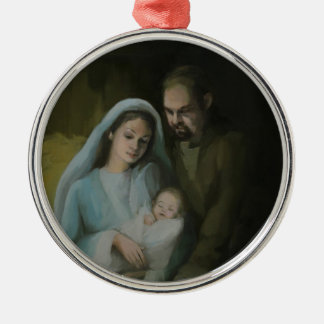 The Holy Family Silver-Colored Round Decoration