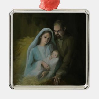 The Holy Family Silver-Colored Square Decoration