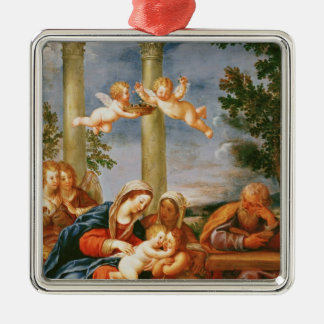 The Holy Family St. Elizabeth and St. John Silver-Colored Square Decoration
