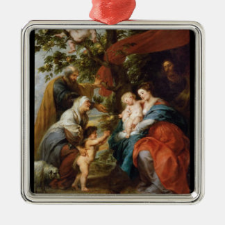 The Holy Family under the apple tree Rubens Paul Silver-Colored Square Decoration