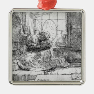 The Holy Family with a cat, 1654 Silver-Colored Square Decoration