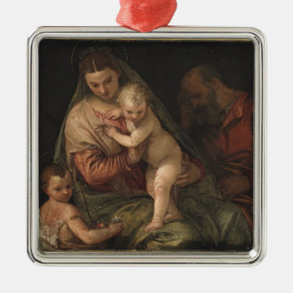 The Holy Family with child John by Paolo Veronese Silver-Colored Square Decoration