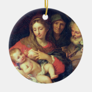 The Holy Family with Elizabeth (oil on panel) Round Ceramic Decoration