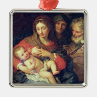 The Holy Family with Elizabeth (oil on panel) Silver-Colored Square Decoration