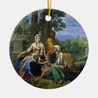 The Holy Family with SS. John, Elizabeth and the I Round Ceramic Decoration