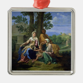 The Holy Family with SS. John, Elizabeth and the I Silver-Colored Square Decoration