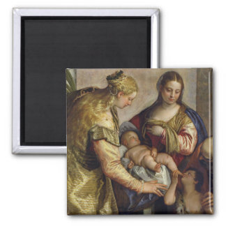 The Holy Family with St. Barbara, c.1550 (oil on c Magnet